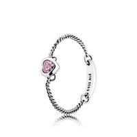 SILVER CHAIN RING WITH PINK CUBIC ZIRCONIA 54호