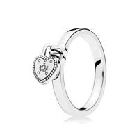 Heart padlock silver ring 50호