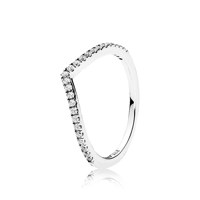 Wishbone silver ring with clear cubic zirconia 50호