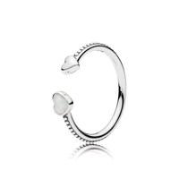 Open heart silver ring with silver enamel 48호