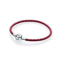 Silver leather bracelet, single,red