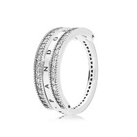 PANDORA logo reversible silver ring with clear cubic zirconia 48호