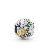 Flower silver charm with pink, green, blue, white and yellow enamel