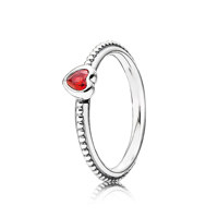 Heart silver ring with golden red synthetic ruby 54호