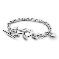 Knotted hearts silver T-bar bracelet 18 cm