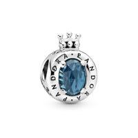 Crown O sterling silver charm with moonlight blue crystal