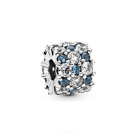 Sterling silver charm with moonlight blue crystal and clear cubic zirconia