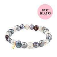 18KT GOLD BRACELET CULT.PEARL 7-8MM N16