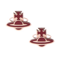 ROMINA ORB EARRINGS  PINK GOLD/BURGUNDY