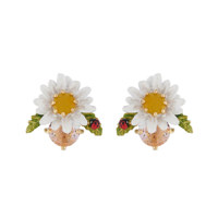 DAISY ON FACETED GLASS EARRINGS