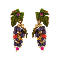GRAPES AND SMALL LEAF EARRINGS