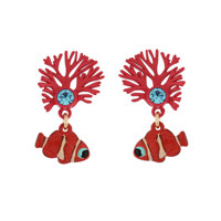 EARRINGS BRANCH OF CORAL AND CLOWNFISH