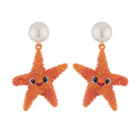 EARRINGS STARFISH AND PEARL