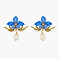 VIOLETTE AND FRESWATER BAROQUE PEARL STUD EARRINGS