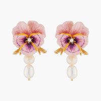 PINK PANSY AND BAROQUE FRESWATER PEARL STUD EARRINGS