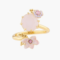PINK FLOWERS ON FACETED STONE ADJUSTABLE RING