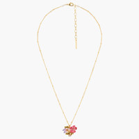 CARNATION, VIOLET AND FACETED CRYSTAL SMALL PENDANT NECKLACE