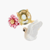 WHITE SWAN AND PINK WATER LILY ADJUSTABLE RING