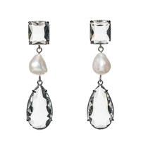 Clear Stone n Pearl Earring