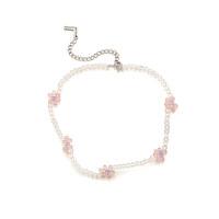Flower Beads Choker Necklace_Pink