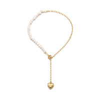Love Lock Heart n Pearl Necklace_Gold
