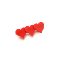 Heart Layered Hairpin_Red