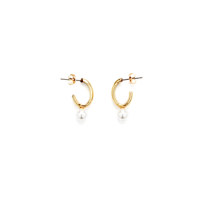 oval and pearl earrings - gold