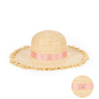 pure natural raffia hat baby pink