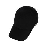 [바잘 캡모자] 스터드 로고 오버핏 볼캡 블랙