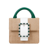 Lady Embellished Pocket Bag_Raffia Green