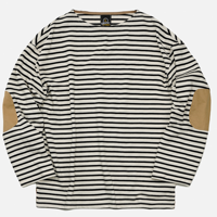 PATCH STRIPE BOATNECK _ BLACK/IVORY